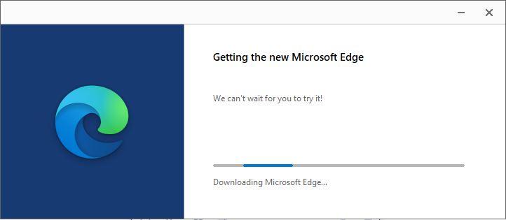 กำลังติดตั้ง Microsoft Edge ใหม่ รุ่น Chromium